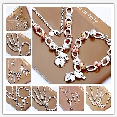 2017 New Fashion Xmas Gift 925Silver Jewelry Set Necklace Bracelet Ring Earrings