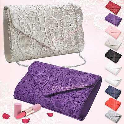 New Lace Envelope Evening Clutch Wedding Purse Party Prom Handbag Shoulder Bag