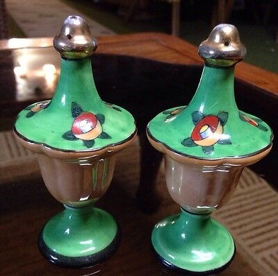 Vintage Art Deco Hand painted china salt and pepper Made In Japan