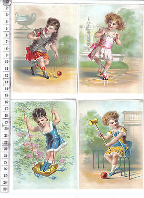 Four cards or prints of child with toy.