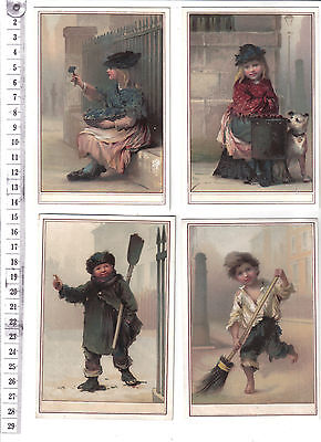 Four cards or prints of children working in street