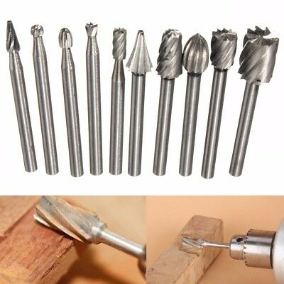 10 PCS High Speed Steel Burr Grinding Bit Wood Carving Rasp For 1/8' Shank Tool