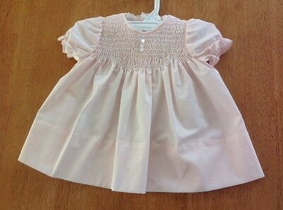 Beautiful Vintage Pink Smocked Infant Girl's Dress, 0/3 M, Baby Togs, EUC