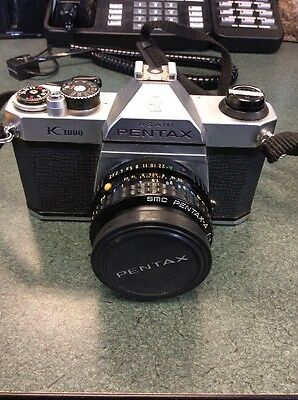 Asahi Pentax K1000 Film Camera With pentax-a smc 1:2 50mm Lens
