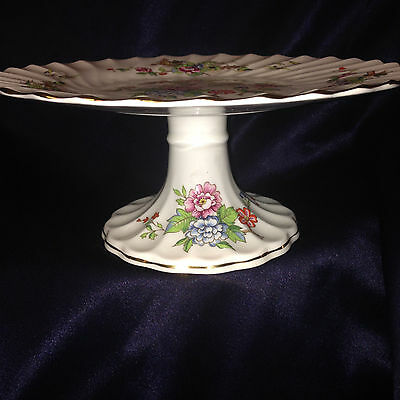 "Crown Staffordshire England Pagoda Footed Cake Plate 9"" Flowers Birds Gold Trim"