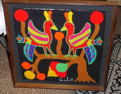 Highly Colorful Framed South American Fabric Art of Birds on a Branch