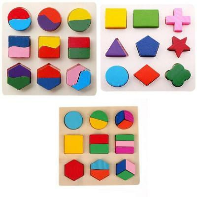 Kids Wooden Geometry Block Puzzles Montessori Early Learning Educational Toy