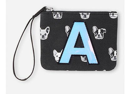 Justice Girl's Initial 'A' Puppy Print Wristlet Wallet NWT