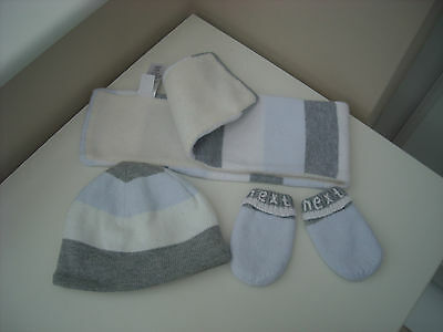 Baby Next Boys 0-3 Months Hat, Mittens & Scarf Set  100% Cotton