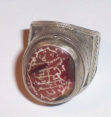 Large Byzantine  silver Finger ring with inscribed stone bezel.