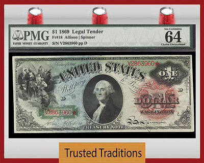 Tt Fr 18 1869 $1 Legal Tender Rainbow Note Large Red Seal Pmg 64 Epq Choice Unc