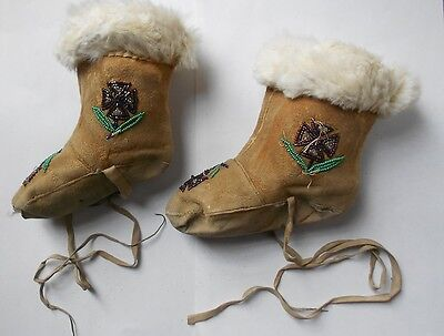 OLD NATIVE AMERICAN INDIAN BEADED MOCCASIN/BOOTS-Northwest Coast. NO RESERVE
