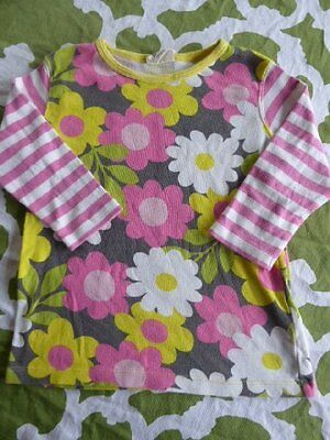 Mini Boden Girls 5-6 Hotchpotch Stripe Flower 3/4 length Shirt