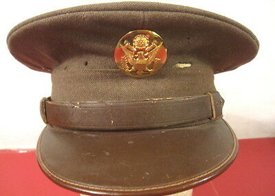 WWII US Army NCO Enlistedman Visor Service Cap Hat w/Brown Leather Brim Sz 7 #3