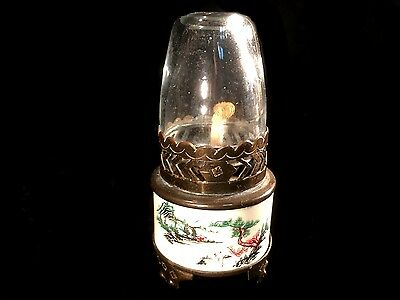 Vintage Miniature Scrimshawed Opium Wars Style Lamp Designs Carved Into Base #M4