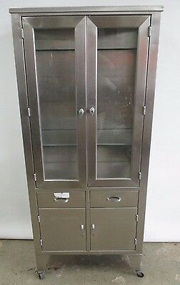 Antique Circa 1940's Stainless Steel Medical Display Cabinet Industrial Chest