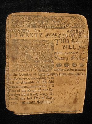 US DE Colonial Currency - 20 shillings - May 1, 1758 ** BEN FRANKLIN ** (CC-207)
