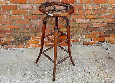 Antique Cast Iron & Wood Swivel Adjustable Drafting Architect Stool Cane Seat