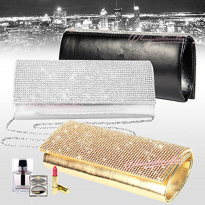 Evening Women Sparkle Diamante Crystal Clutch Bridal Prom Handbag Shoulder Bag