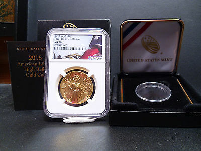 2015-W MS70 $100 High Relief .9999 Fine Gold NGC Certified Perfect With Box/COA