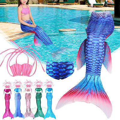 Girls Kid Mermaid Tail 3 pcs Set Bikini Swimwear Swimming Costume Fancy  Cosplay