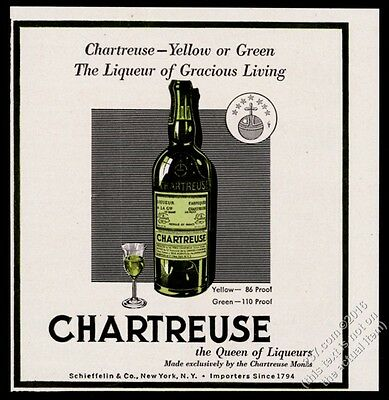 1951 Chartreuse liqueur green bottle and glass vintage print ad