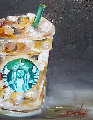 Delilah Iced coffee still life original oil painting art glass drink 10x8