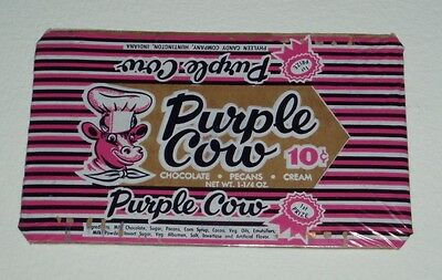 Vintage 1950's PURPLE COW candy bar wrapper Phylee Candy Co.