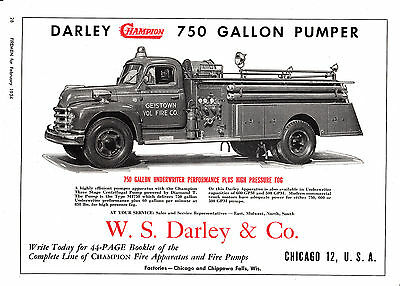 Geistown Pa  Has A Darley Fire Engine   1954  Ad      6784