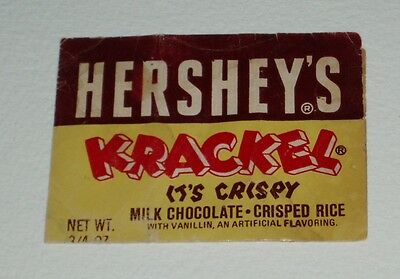 Vintage 1950's KRACKEL candy bar wrapper Hershey's chocolate