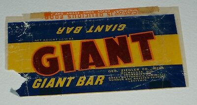 Vintage 1950's Ziegler GIANT candy bar wrapper