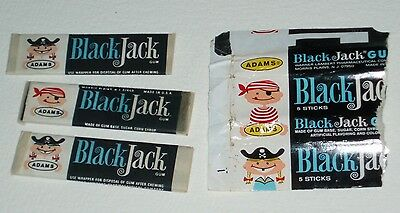 Vintage 1960's Adams BLACK JACK gum wrapper & 3 sticks