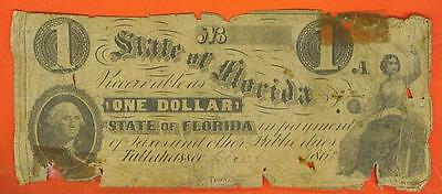"1861 $1.00 ""The State of Florida"" - Tallahassee Broken Bank Note!"