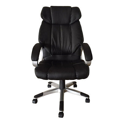 High Back Office Chair Ergonomic Desk Task Black Leather Executive Computer Seat