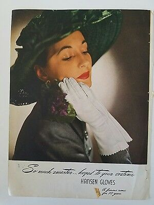 1946 HANSEN women's white gloves keyed to your costume fashion color Ad