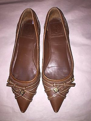 Women's Tory Burch Brown All Leather Pointed-Toe Flats SZ 8.5M