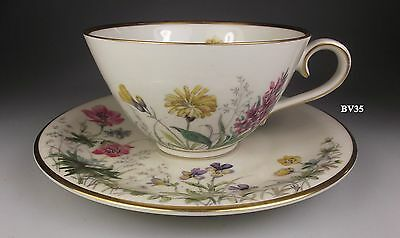 """FRANCONIA KRAUTHEIM MEADOW FLOWERS 2 CUP & SAUCER SETS  2 1/4"""" - """" M"""" - set of 2"""