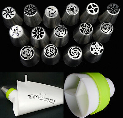 New 15pcs Russian Icing Nozzles Piping bag Pastry Tips Cake Decoration Tool Set