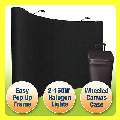 10' Pop Up Trade Show Display Booth Curved Floor Backdrop+Case, BLACK