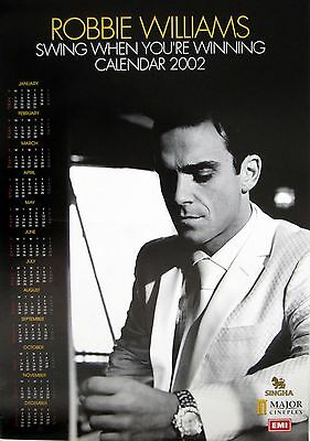 """Robbie Williams """"swing When Your Winning Calendar 2002"""" Thailand Promo Poster"""