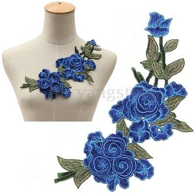 Embroidery Blue Rose Flower Sew On Patch Badge Bag Jeans Dress Applique Craft