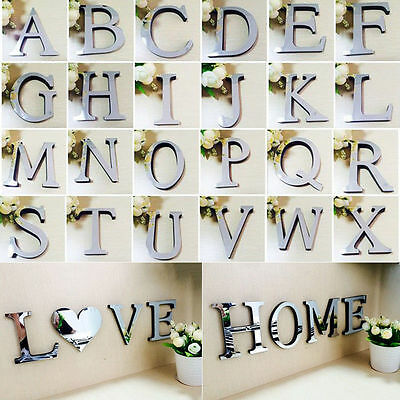 3D Acrylic Mirror Wall Sticker 26 Alphabet Letters Mural Home Bedroom Door Decor