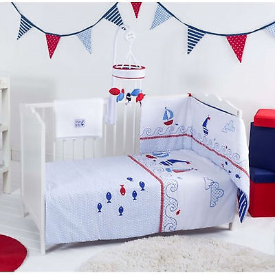 New Red Kite 4 Piece Cosi Cot / Cot Bed Baby Bedding Bale Set Ships Ahoy Blue