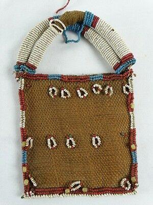 Very Fine Antique Tribal Womens Woven Purse with Beads Papua New Guinea c1930s