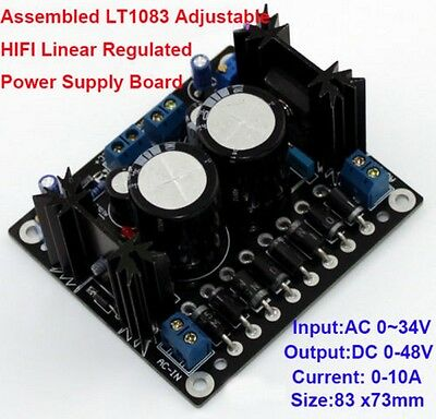 New LT1083 Adjustable 10A HIFI Linear Regulated Power Supply Board Dual Output