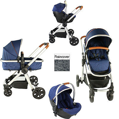 New Red Kite Push Me Fusion 3 In 1 Pram Pushchair Travel System Navy From Birth
