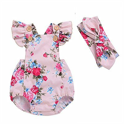 Newborn Infant Baby Girl Floral Romper Jumpsuit Bodysuit Headband Outfit Clothes