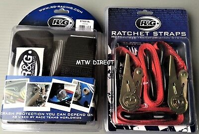 R&G  Motorbike/ Scooter Handlebar Tie Down Top Straps & 25mm Red Ratchet Straps