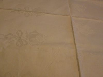 Antique White Linen Damask Fabric Unused Ribbon Bows ROSES BANQUET SIZE 58 X 108