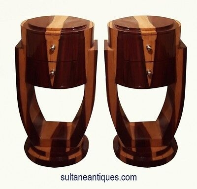 Here in 4 weeks Pair Rosewood Deco style side commodes